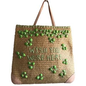 Kate Spade Straw Beach Tote Bag Wish You Were Here